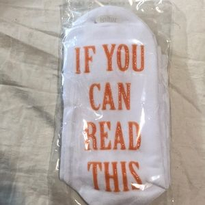 """If you can read this bring me some wine"" socks"